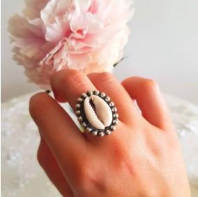 סט טבעת ועגילי צדף