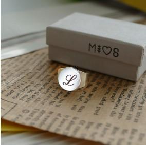 טבעת חותם עם חריטה- כסף 925