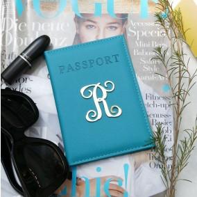 כיסוי דרכון עם אות- טורקיז